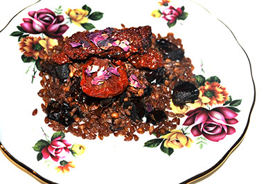 Toasted Spelt with Dates and Sun Dried Tomatoes