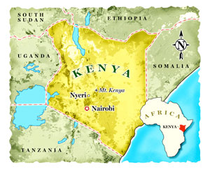 Map of Kenya Robert Baden-Powell Resting Place