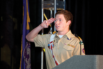 Gates' speech wowed the crowed, as did National Order of the Arrow Chief Nick Dannemiller (above). Every Scout in  attendance made us proud.