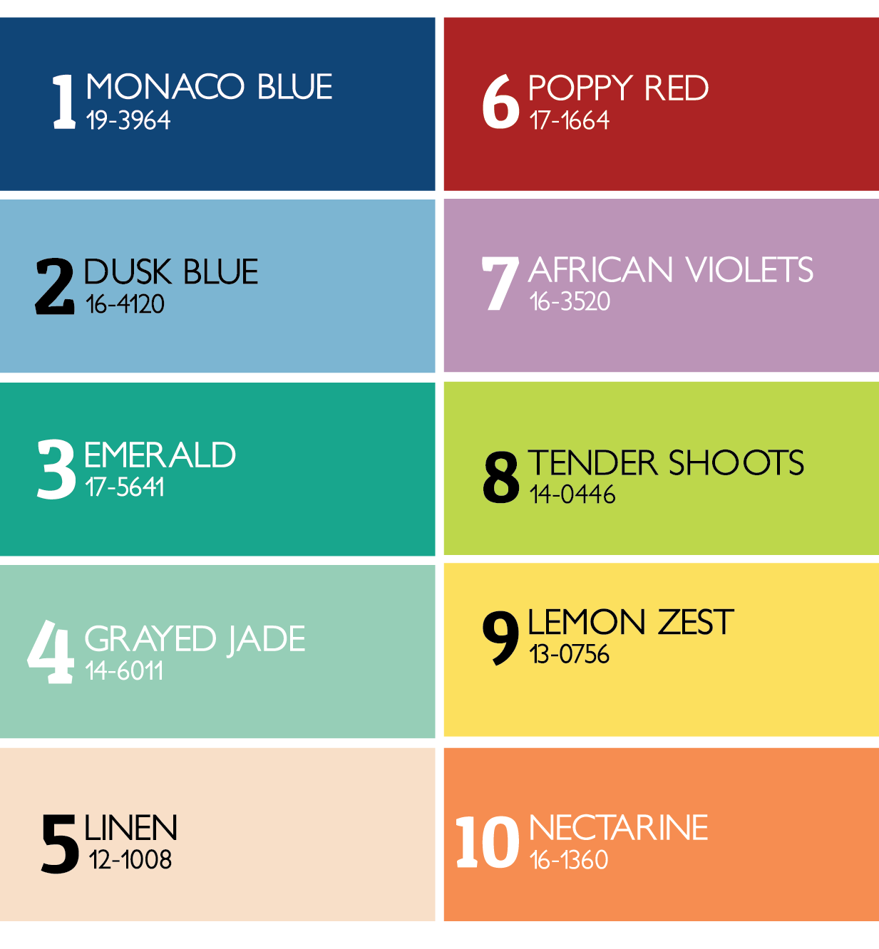 Pantone Fashion Color Palette - Spring 2013