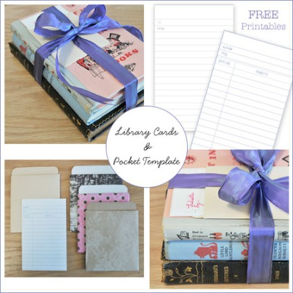 Freebie library card paper pocket template scrap booking for Cards and pockets com