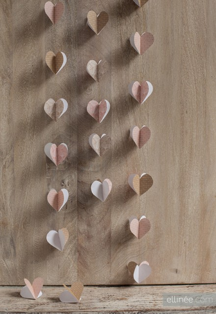 Heart Garland Printable and Tutorial by Ellinee