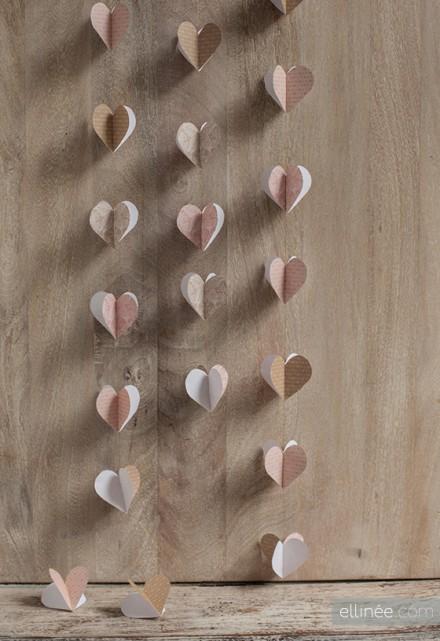 Heart Garland Printable and Tutorial by Ellinee