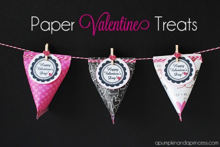 Paper Valentine Treat Containers from A Pumpkin and A Princess