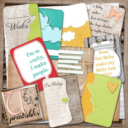 Free Printable pregnancy Journaling cards from U Printables