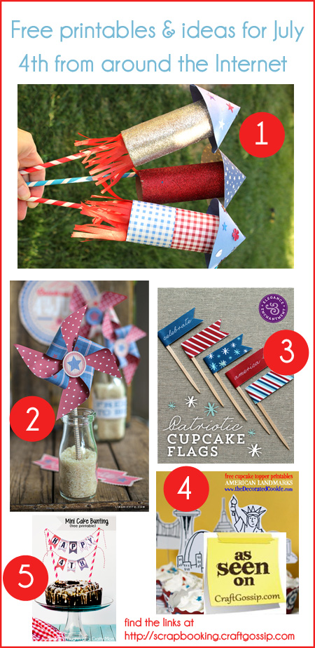 Ideas and free printables for July 4th at Craft Gossip