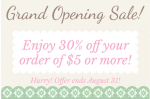 Grand Opening Sale at The Paper Vine