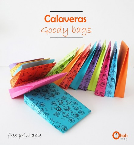 Freebie - DIY Halloween Calveras Goody bag  from Oh Oh Blog