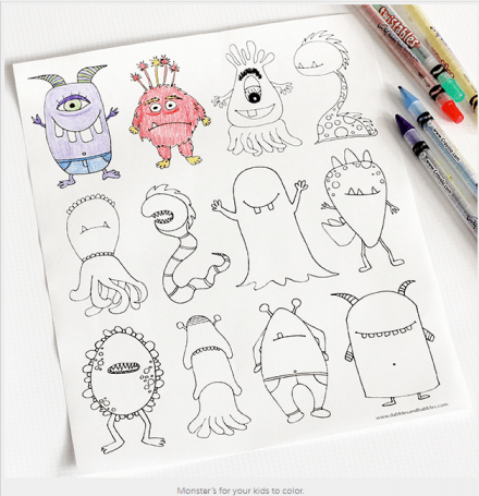 Monsters Coloring Page _ Dabbles & BabblesDabbles & Babbles - 2013-10-25_12.20.44