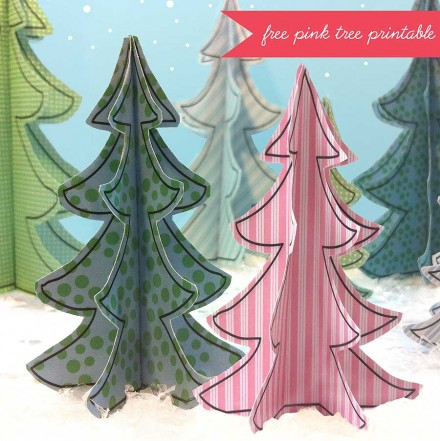 Freebie - Printable Pink Christmas Tree from Claudine Hellmuth