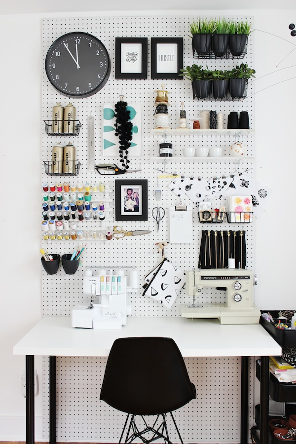 Pegboard Organization in Craft Rooms and Studios
