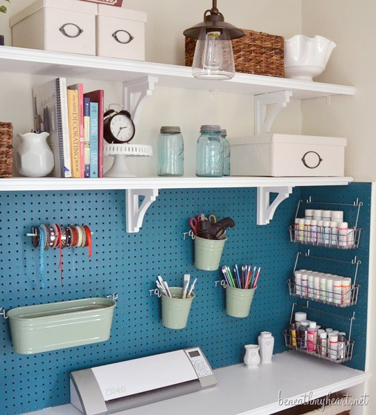 10 ways to use pegboard in your craft room scrap booking for Diy pegboard craft organizer