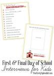 Freebie | First & Final Day of School Interviews