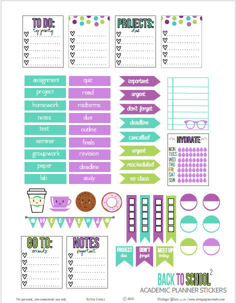 set of academic or back to school planner stickers suitable for ...