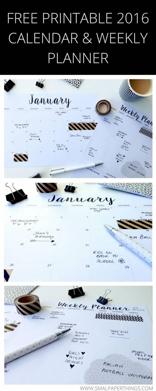 Minimalist Calendar 2016 : Printable planners for scrap booking