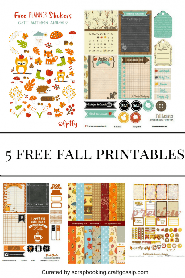 5 Free Fall Printables For Scrapbooks And Planners Scrap
