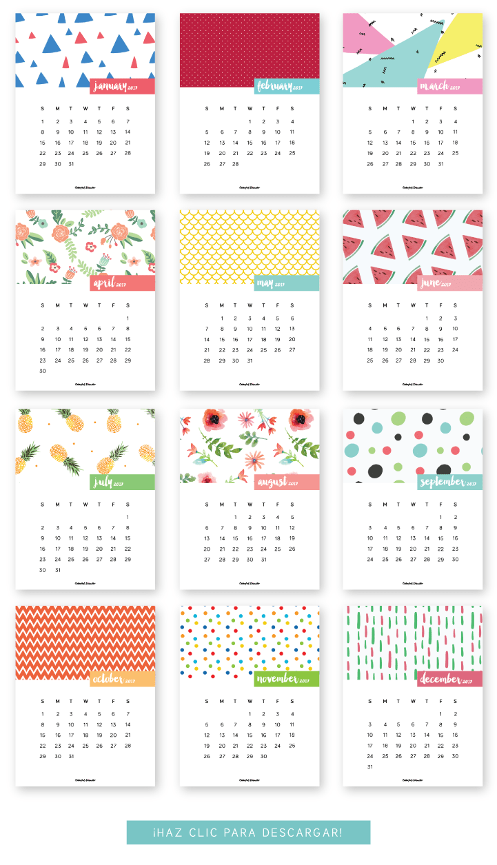 printable calendar for 2017! The post is in Spanish, but the calendar ...