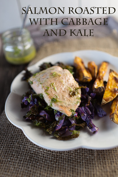 Salmon Roasted with Cabbage and Kale