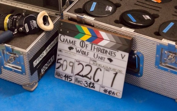 Clapperboard from Game of Thrones, Series 5, episode 9. Being shot in the Alcazar, Seville.