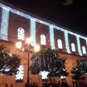 "Sparkly lights on the facade of the Ayuntamiento - lendsnew glamour to boring old ""Town Hall""."