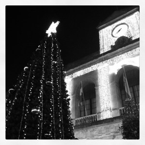 The Christmas tree at the Ayuntamiento - its lights change colour, and the facade shines like diamonds.