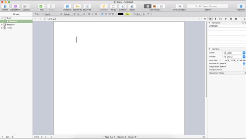 Scrivener Walkthrough - Blank project screenshot