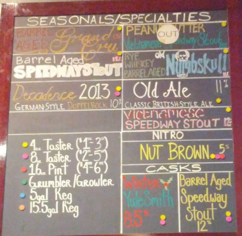 Alesmith barrel aged options, 12/31/2013.