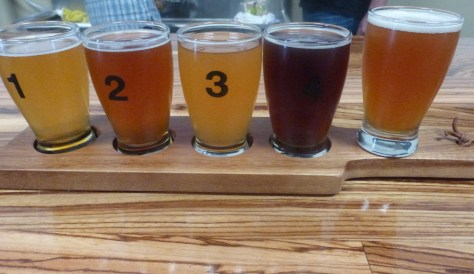 Left to right, Blonde, Pale, IPA, Strong Ale, Rye IPA.