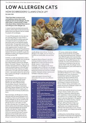 Low allergen Siberian cats in Flash Cats magazine