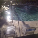 View of the heated pool from our Office
