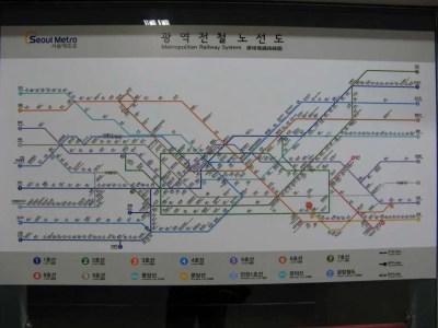 韓国、ソウルの地下鉄マップ【韓国、ソウル】