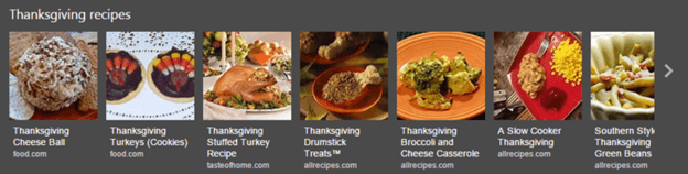 Bing thanksgiving day recipe carousel