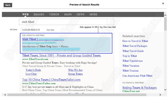 bing ads real time bid preview tool