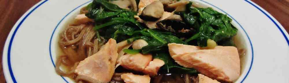 Salmon miso noodle soup