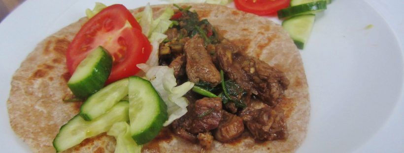 lamb stir fry with chapatis