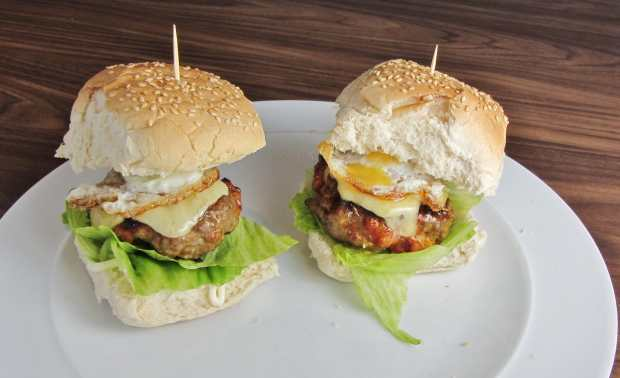 Beef and Chorizo Burgers with a quail's egg