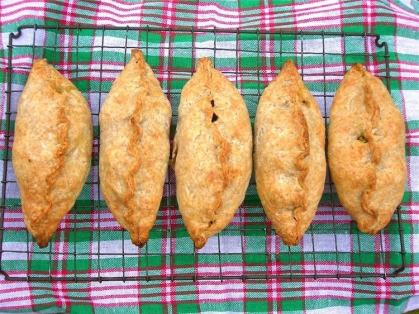 Squash, chard, chilli and feta pasties