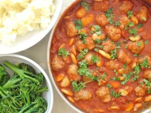 Sausage red wine and butterbean casserole