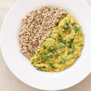 kale red onion dhal and buckwheat