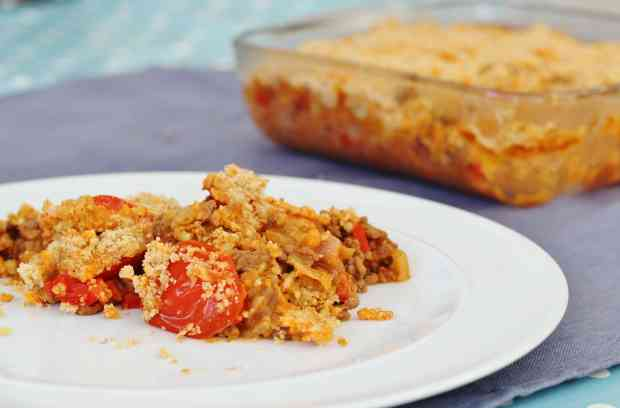 Mince and Tomato Crumble