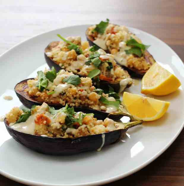 couscous stuffed aubergine with tahini sauce