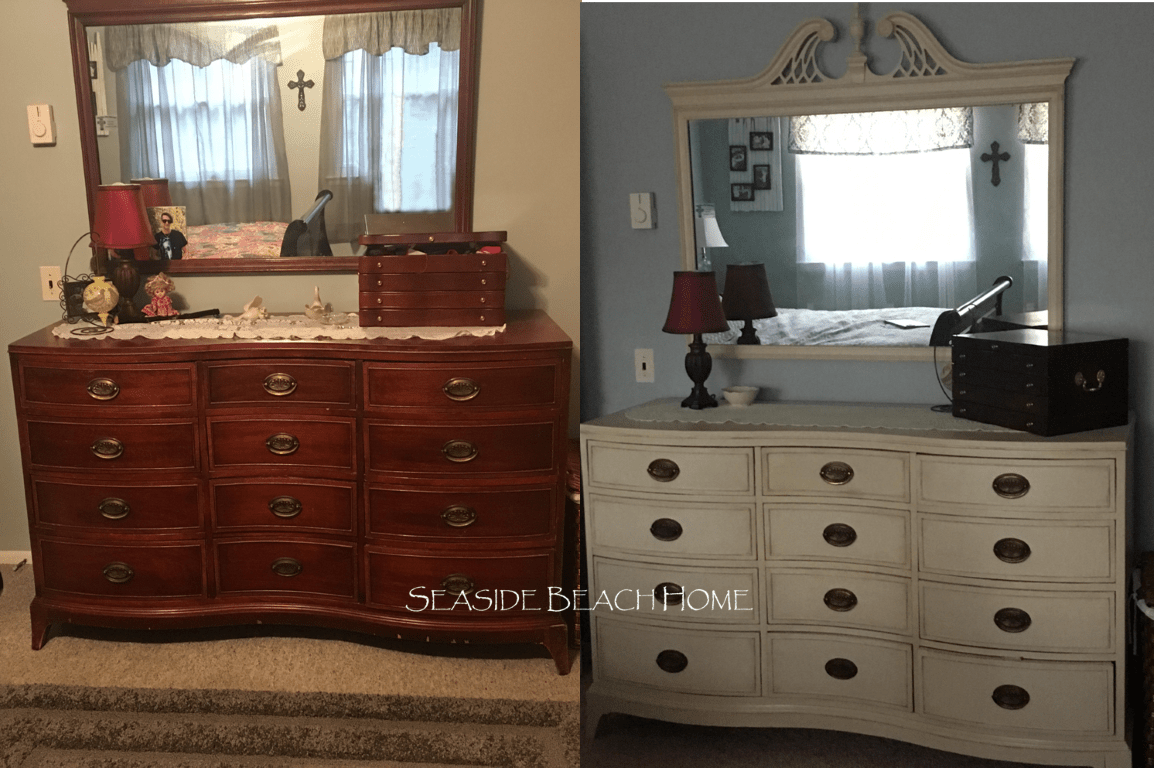 Here Are Some Before U0026 After Pictures Of A Bedroom Set I Hand Painted With  A Cream Paint Color. Light Distressing With Some Dark Wax Accents Around  Edges Of ...