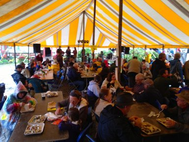 Under the big yellow tent at Damariscotta Oyster Festival