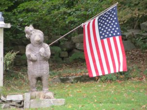 Carved wood statue from local woodsman in Washington, Maine