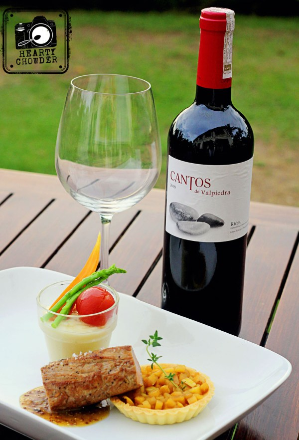 "The meat dish paired with Finca Valpiedra ""CANTOS DE VALPIEDRA"" Tempranillo, a powerful Rioja red with greater character and body with hints of minerals and wood."
