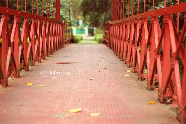 The red bridge at Bogor Botanical Gardens
