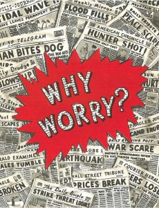 """Front of the """"Why Worry"""" Christmas card"""
