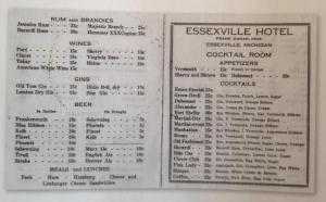 1939 Essexville Hotel Menu