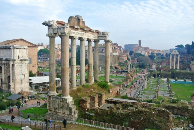 view over Roman Forum in Rome