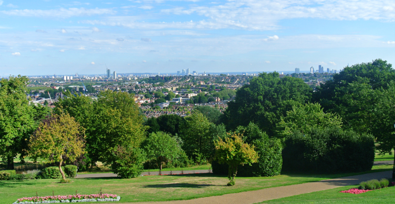 view over London from Alexandra Palace London